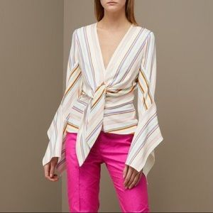 Peter Pilotto Striped Colorful V-Neck Blouse